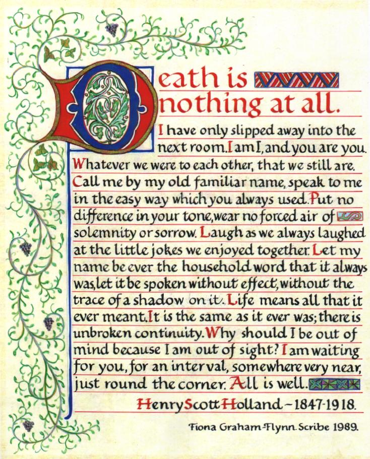Poem death is nothing at all