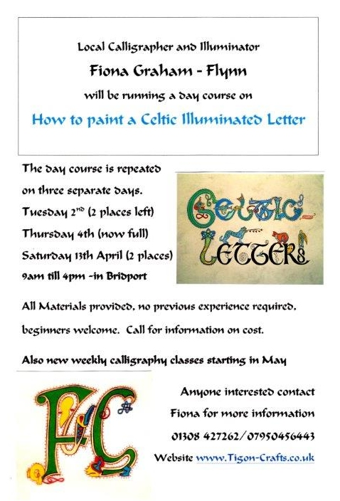 Tigon crafts dorset calligraphy classes Calligraphy classes near me